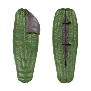 Péřový quilt Enlightened Equipment Revelation Quilt 40°F (5°C) v zeleno-šedé barvě